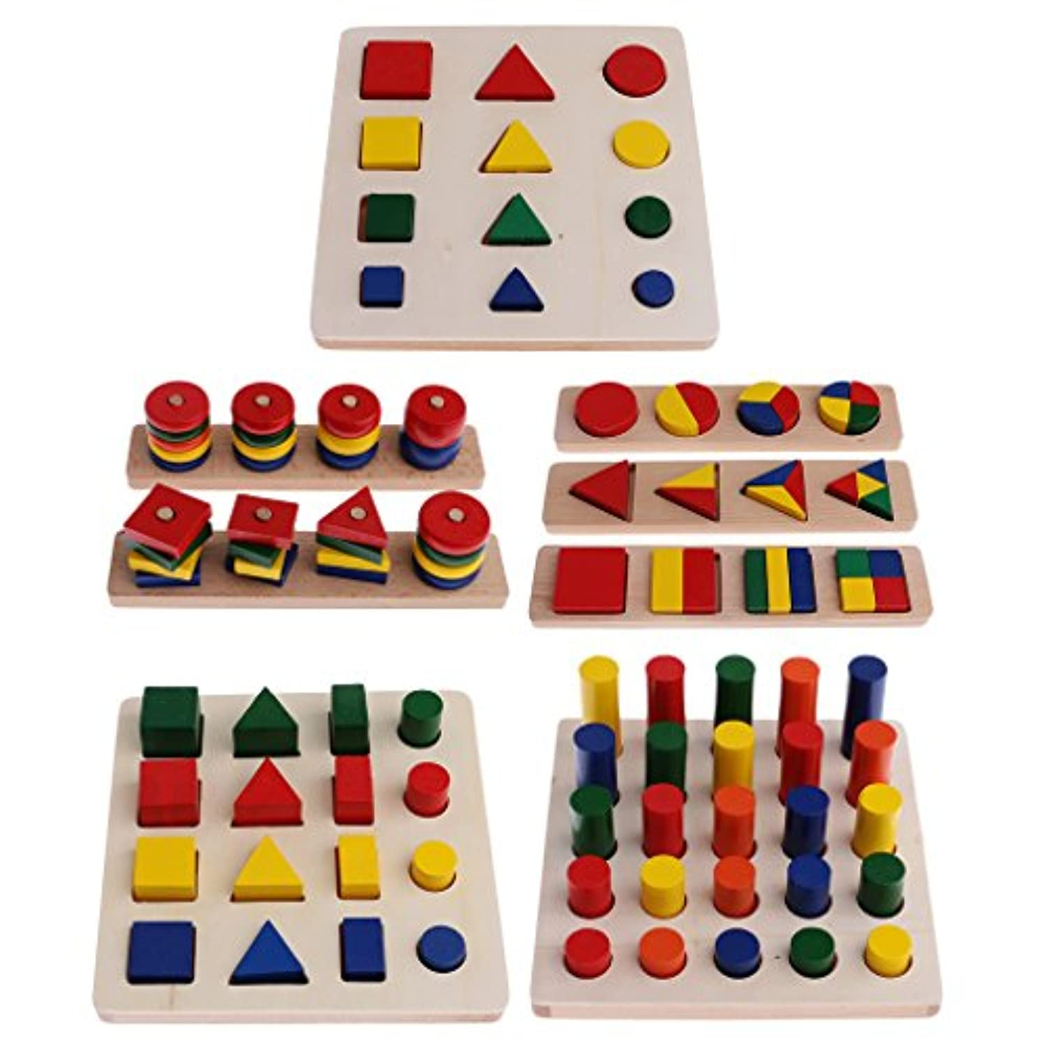 monkeyjack Montessori数学材質ジオメトリブロックMatching Counting for Kids Early Leaningおもちゃ誕生日ギフト