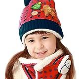子供帽子+スヌード 2点セット 可愛い帽子 ニット帽子 耳当て 首元 暖か 防寒 冬用 ぼうし マフラー ポンポン付き 雪だるま ツリー クマ アニマル 男の子 女の子 人気アクセサリー ファッション小物 クリスマス プレゼント ギフト レッド