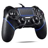 PS4 コントローラー 有線 プレステ4 ゲームパッド USB接続 二重振動 人間工学 高耐久ボタン PS3/PC/PS4/対応 日本語説明書付き (ブルーブラック)