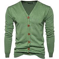 BaronHong Solid V-Neck Men's Cotton Blend Cardigan Casual Lightweight Sweater Coat