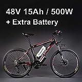 "26 ""48Vリチウム電池500Wアルミニウム合金電動自転車、27速電動バイク、MTB /マウンテンバイク、オイルディスクブレーキ採用 (赤黒+予備電池)"