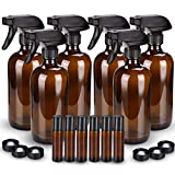 Glass Spray Bottle, Wedama Amber 10 Glass Spray Bottle Set & Accessories for Aromatherapy Facial hydration Watering Flowers Hair Care (6 Pack/16oz)