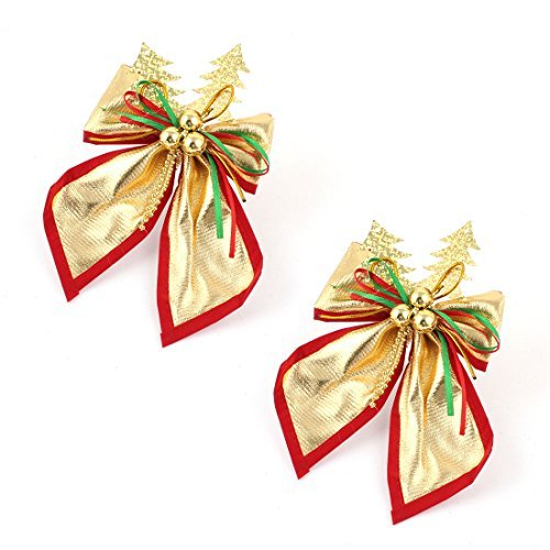 クリスマスツリーリボン付きデザインHanging Ornament 2個ゴールドトーン