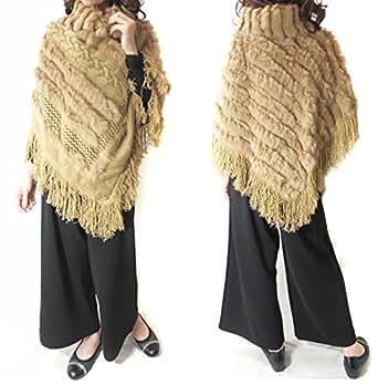 【ノーブランド品】ラビットファー×ニットポンチョコートジャケット [グレー キャメル]キャメル
