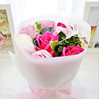 BIO ミディローズブーケ フレグランスソープフラワー ローズ9輪 定番商品 クリアバック・ギフトボックス付 お祝い 記念日 お見舞い バレンタインデー ホワイトデー 母の日   (ピンク)