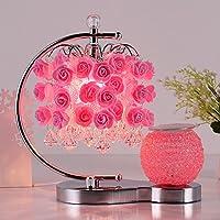 寝室ベッドサイドテーブルランプローズレッドウェディング部屋暖かいアロマセラピーテーブルランププラグクリエイティブヨーロッパ調光lampzh ピンク WINZSC