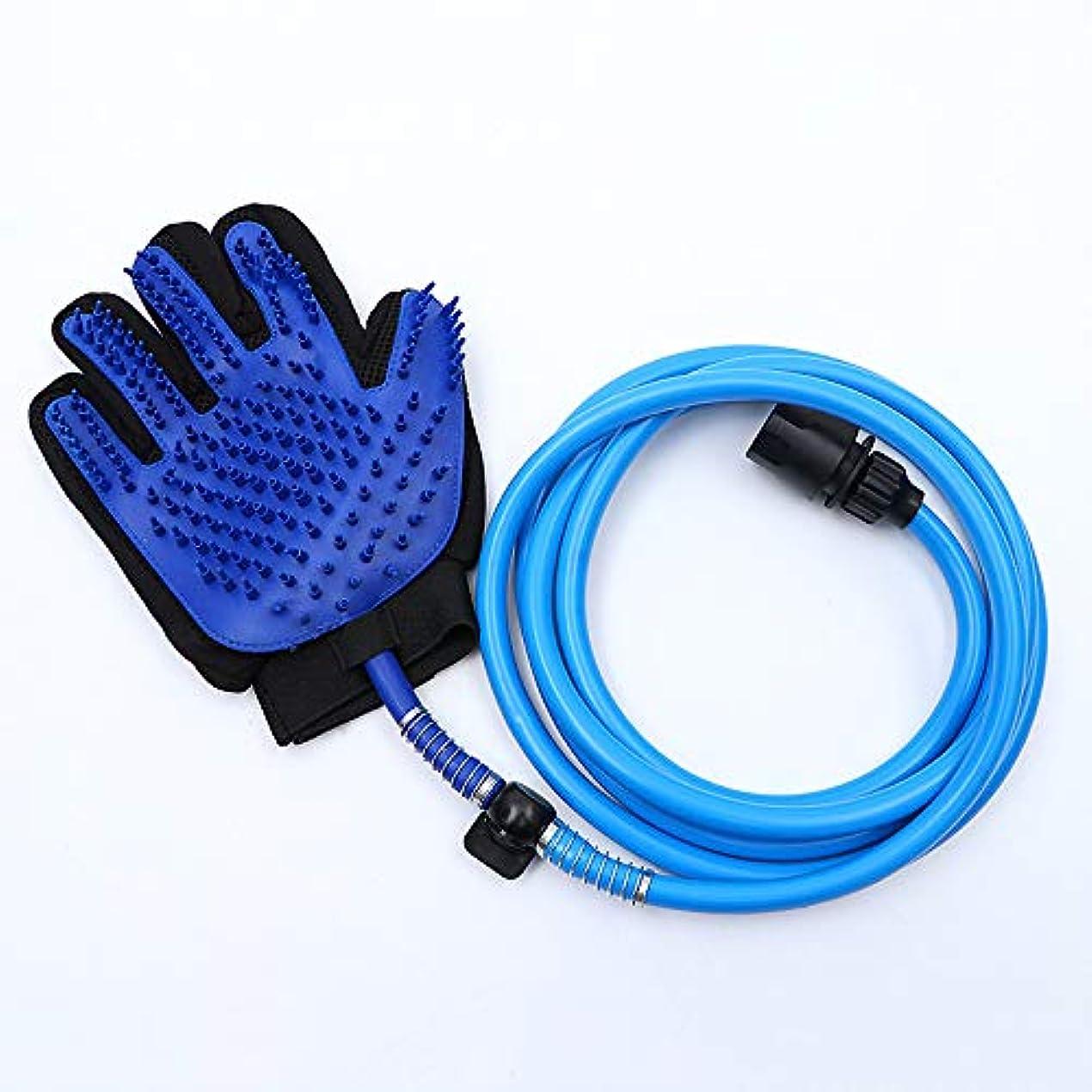 BTXXYJP 手袋 ペット ブラシ グローブ 猫 ブラシ 抜け毛取り クリーナー ブラッシング マッサージブラシ 犬 グローブ ペット毛取りブラシ お手入れ (Color : Blue, Size : L)
