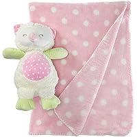 Stephan Baby Sleepy Owl Polka Dot Plush Blanket and 9-inch Plush Owl Gift Set, Pink and White [並行輸入品]