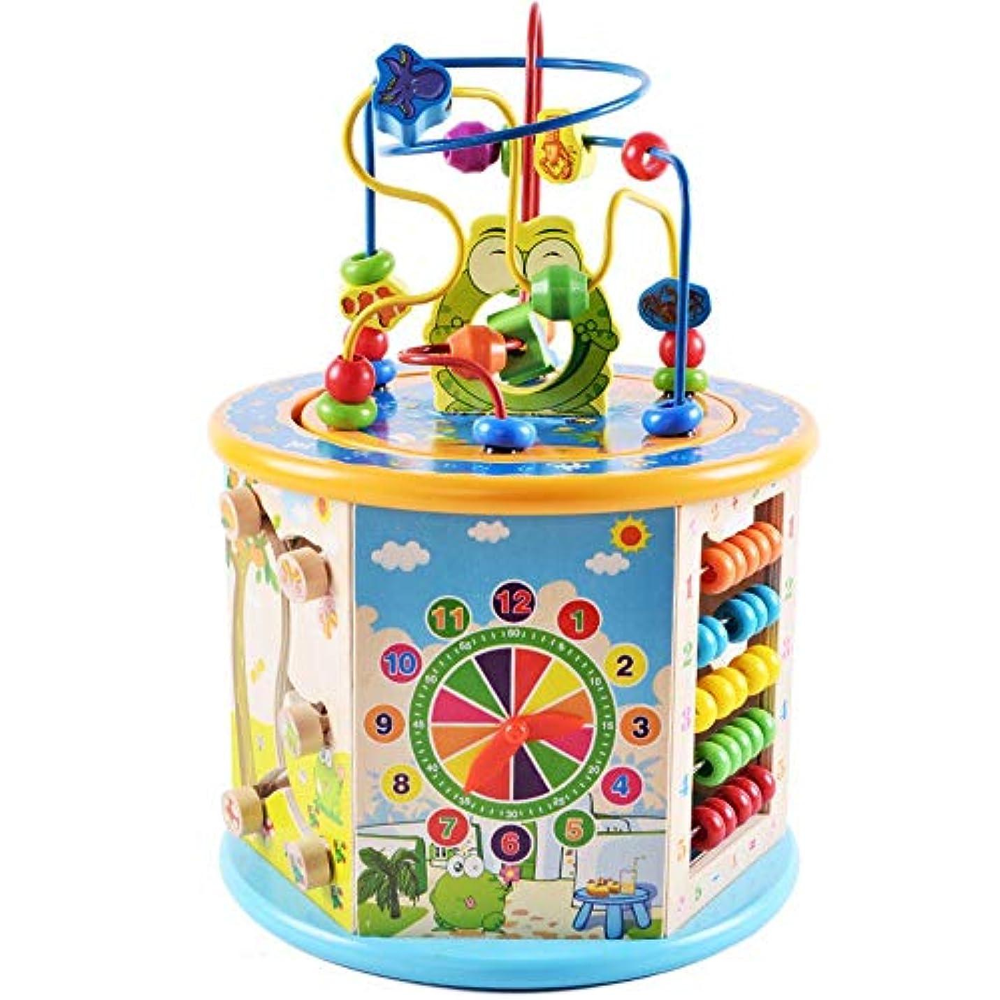 石の補助杖ビーズコースター ルーピング おもちゃ 木製のアクティビティキューブ、音楽活動教育的なゲームサウンドでセンターの赤ちゃん幼児のおもちゃを再生 マルチアクティビティ 赤ちゃんおもちゃ人気 お誕生日プレゼント (Color : Multi-colored, Size : Free size)
