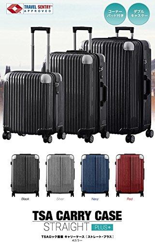 FIELDOOR TSAロック搭載スーツケース (Lサイズ) コーナーパッド付 ダブルキャスター ブラック 鏡面ヘアライン仕上げ トラベルキャリーケース リブ構造 ポリカーボ樹脂 軽量 耐衝撃 容量拡張機能 ダブルファスナー 長期旅行