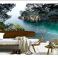 Lcymt カスタム3D壁画、スペイン海の岩の泉自然ホテルのリビングルームのソファテレビの壁の寝室3D壁画の壁紙の背景-250X175Cm