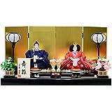平安道翠 雛人形 親王飾り 四曲屏風包貼京箔 黒塗アジロ 平飾り ひな人形 (福寿)