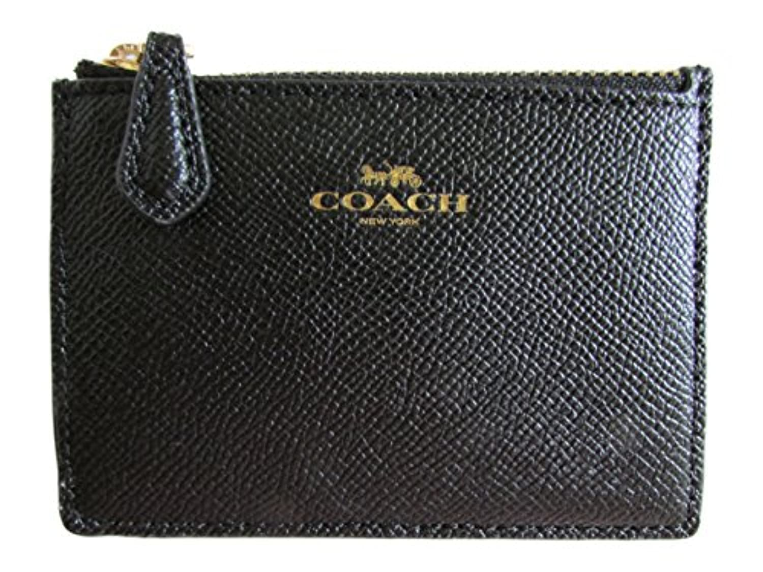 コーチ 小銭入れ IDケース クロスグレイン COACH Crossgrain Leather Mini ID Skinny F12186 IMBLK IM/Black [並行輸入品]