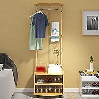 ファッションベッドルームコートラック、多機能ハンガー、室内ハンガーフロア、リビングルームハンガー ( 色 : Pine color )