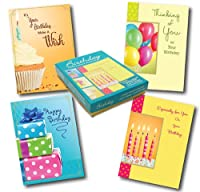 Designer Greetings Birthday Greeting Card Assortment, Box of 12 Cards and 13 Coloured Envelopes (658-00100-000)