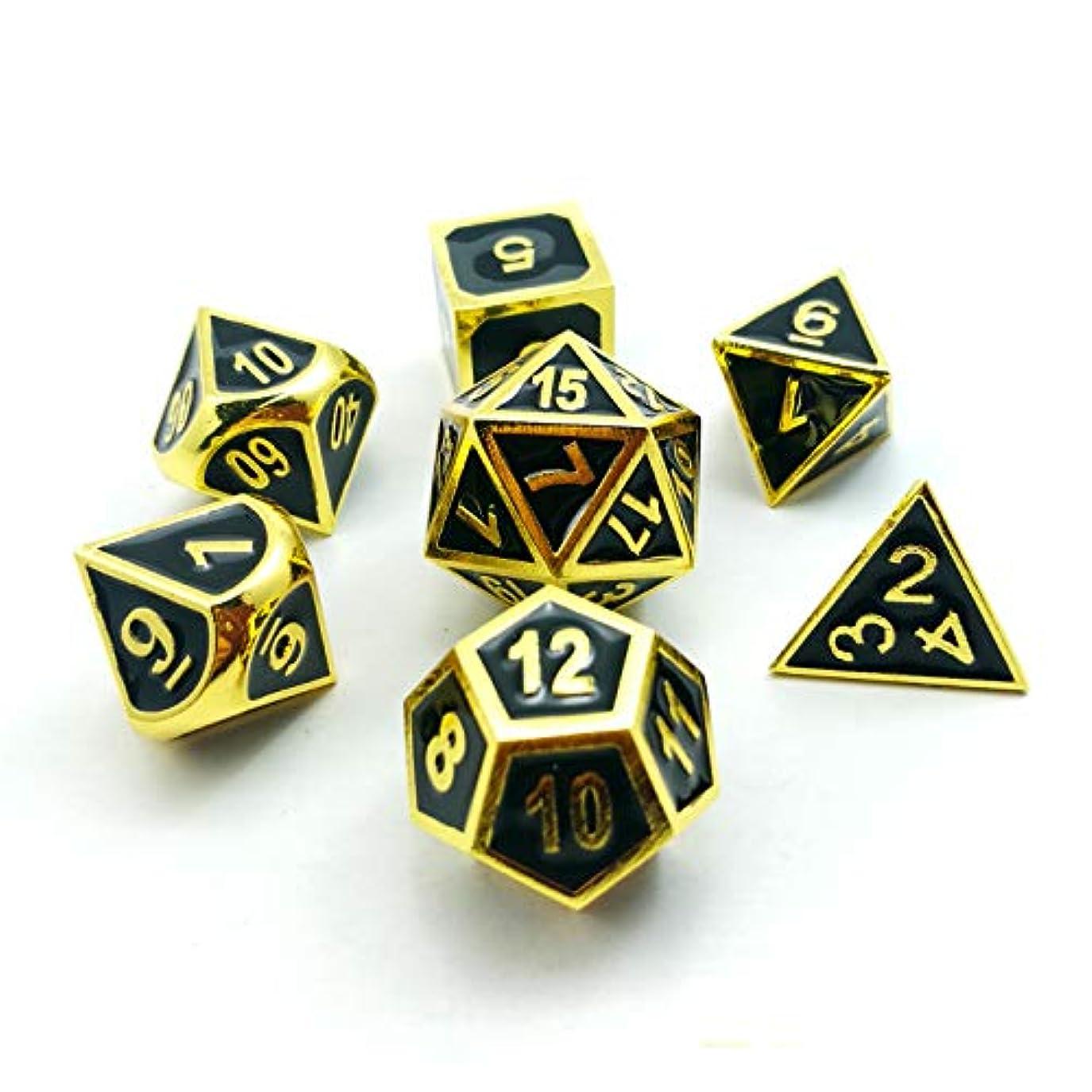 内訳オーナー関数Bescon Super Shiny Deluxe Golden and Enamel Solid Metal Polyhedral Dice Set of 7 Gold Metallic RPG Role Playing Game