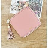 【ビジネスに】5 色 レディース 女の子 財布 二つ折り 小銭入れ 高級 レザー ラウンドファスナー (ピンク)