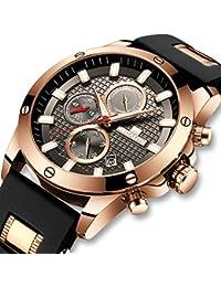 [メガリス]MEGALITH 腕時計 メンズ時計ブラック クロノグラフ防水ウオッチルミナス夜光 多針アナログクオーツ腕時計シリコン 日付表示 ラグジュアリー おしゃれ ビジネス カジュアル 男性腕時計