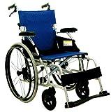【即日出荷】車椅子安全整備士点検済 軽量車椅子ノーパンク アルミ自走介助式 座幅40cm 青ストライプ色