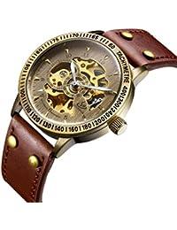 腕時計、メンズ腕時計、 アンティークメカニカルウォッチスケルトン自動巻きウォータープルーフクロノグラフウォッチラグジュアリーヴィンテージブラウンレザーウォッチ