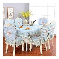テーブルクロス 長方形のテーブルクロスカントリースタイル、椅子の裏表紙と椅子クッションカバー、4個セット、6個セット (Color : B, Size : 130*180cm+4 cushion 4 backrest)