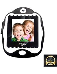 ISEE耐久性のある子供smartwatch、スマートな腕時計のタッチスクリーンのゲーム、デジタル時計のカメラ少年のための時計のアラームを学ぶ女の子の子供(黒)