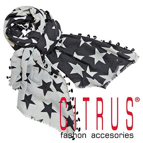 [シトラス] CITRUS インド製 ポンポン付き 星柄 ウールストール 黒×グレー CITRUS [並行輸入品]