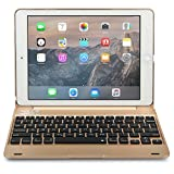 iPad Pro 9.7 / iPad Air 2用 キーボードケース, *NEW* COOPER KAI SKEL Bluetooth ワイヤレス キーボード ポータブル ラップトップ Macbook クラムシェル ケース カバー 14 ショートカットキー付き Apple iPad Air 2 / Pro 9.7用 (ゴールド)