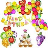 ハワイアンパーティー 夏の飾りセット フルーツバルーン 男の子 女の子 誕生日 パーティー バナー フラミンゴ ケーキトッパー バルーン 風船