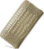 イタリア製 牛革 クロコダイル 型押し ラウンドファスナー 長財布 真鍮引手 メンズ メリディアナ社製原皮使用 : オーク