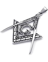 [テメゴ ジュエリー]TEMEGO Jewelry メンズステンレススチールペンダントヴィンテージフリーメーソンフリーメーソンのネックレス、ブラックシルバー[インポート]