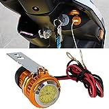 JX-SHOPPU アナログ時計付き防水 ステンレス バイク 汎用 12V 充電器 USB チャージャー LEDあり 5V1A ゴールド