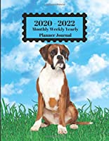 2020 - 2022 Monthly Weekly Yearly Planner Journal: Boxer Dog Sitting In Grass Blue Sky Clouds Design Cover 2 Year Planner Appointment Calendar Organizer And Journal Notebook