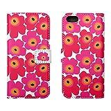 HANARO iPhone5/5s/SEケース 手帳型 北欧風 花柄 横開き カードポケット付き ピンク  i6-012-3-9