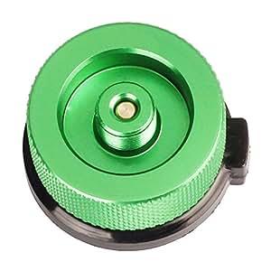 k-outdoor ガス缶 変換 アダプター 変換プラグ ガスボンベ 家庭用/アウトドア用 漏れ防止 アルミ合金 (グリーン)