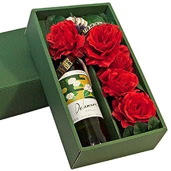 ワインと花 のフラワーアレンジ【 薔薇のアートフラワー5輪】&ワイン (熊本白ワイン デラウェア 720ml)