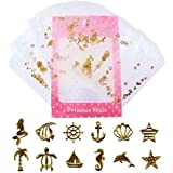 薄型 アート パーツ ゴールド ネイル&レジン用 マリンパーツ 12種類300枚セット 袋入り