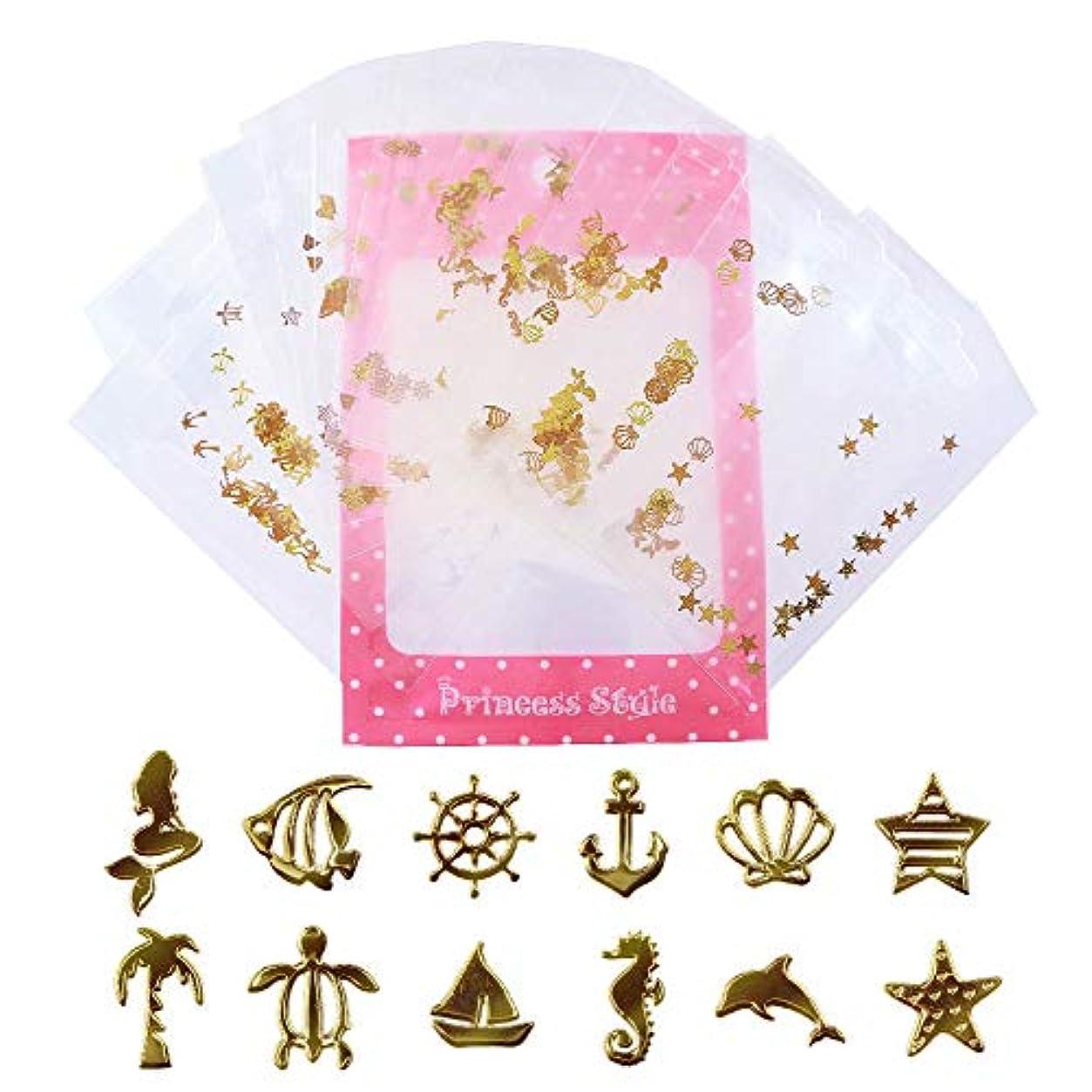 暗記する前件見せます薄型 アート パーツ ゴールド ネイル&レジン用 マリンパーツ 12種類300枚セット 袋入り