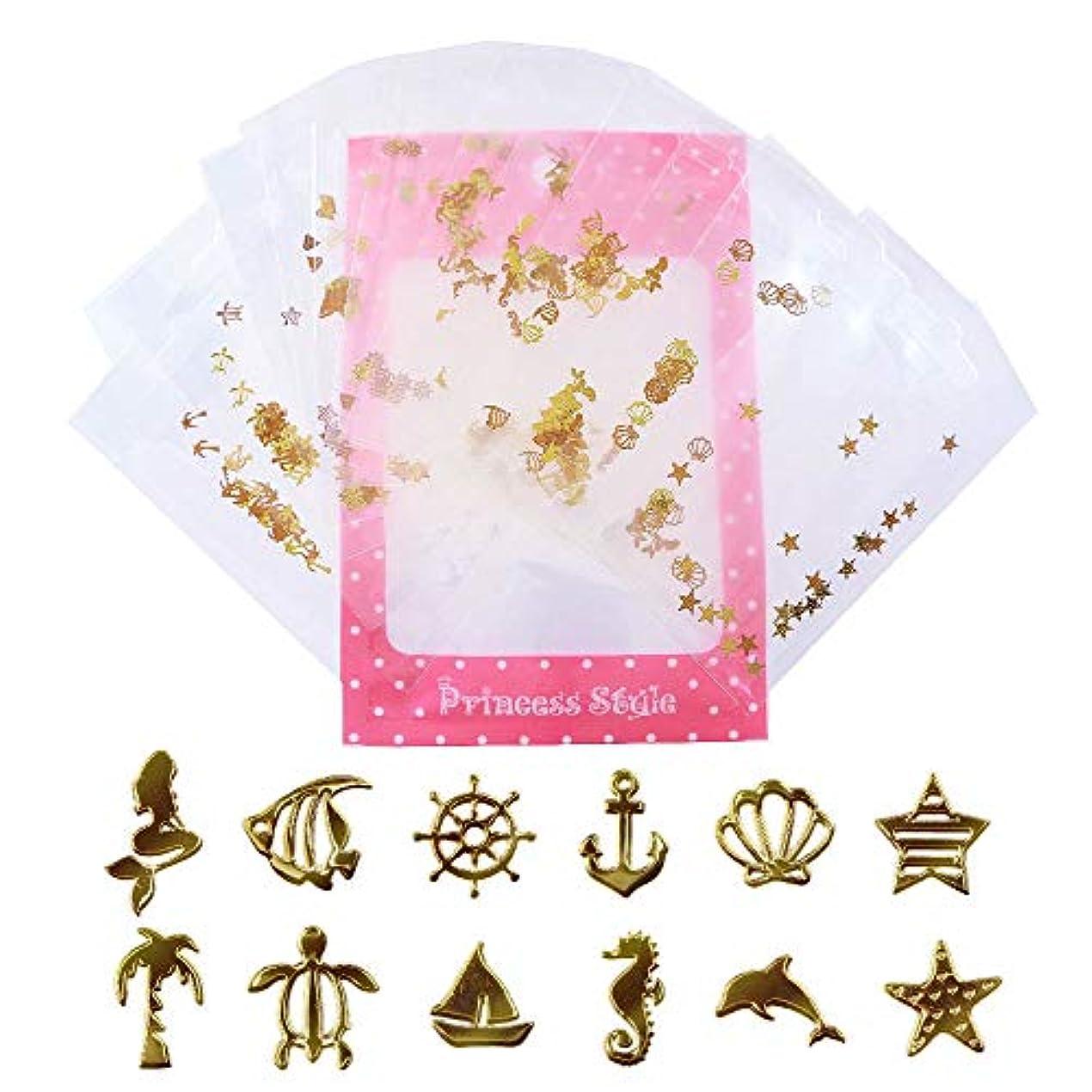 太字アストロラーベ階段薄型 アート パーツ ゴールド ネイル&レジン用 マリンパーツ 12種類300枚セット 袋入り