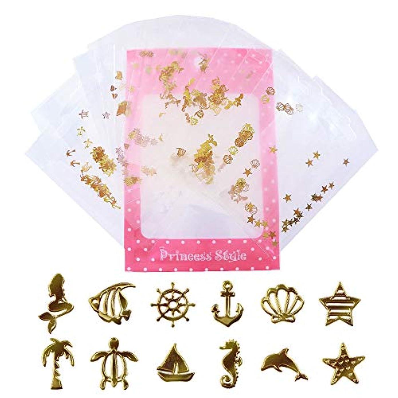 アンペア爆風傾く薄型 アート パーツ ゴールド ネイル&レジン用 マリンパーツ 12種類300枚セット 袋入り