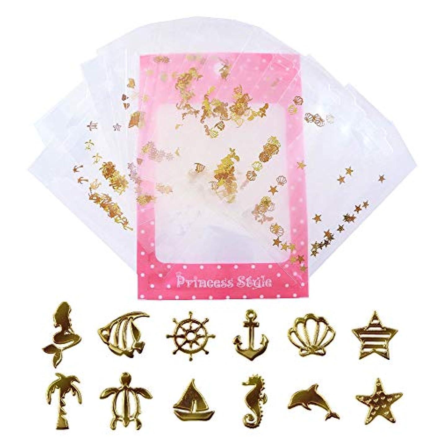熟読経過我慢する薄型 アート パーツ ゴールド ネイル&レジン用 マリンパーツ 12種類300枚セット 袋入り