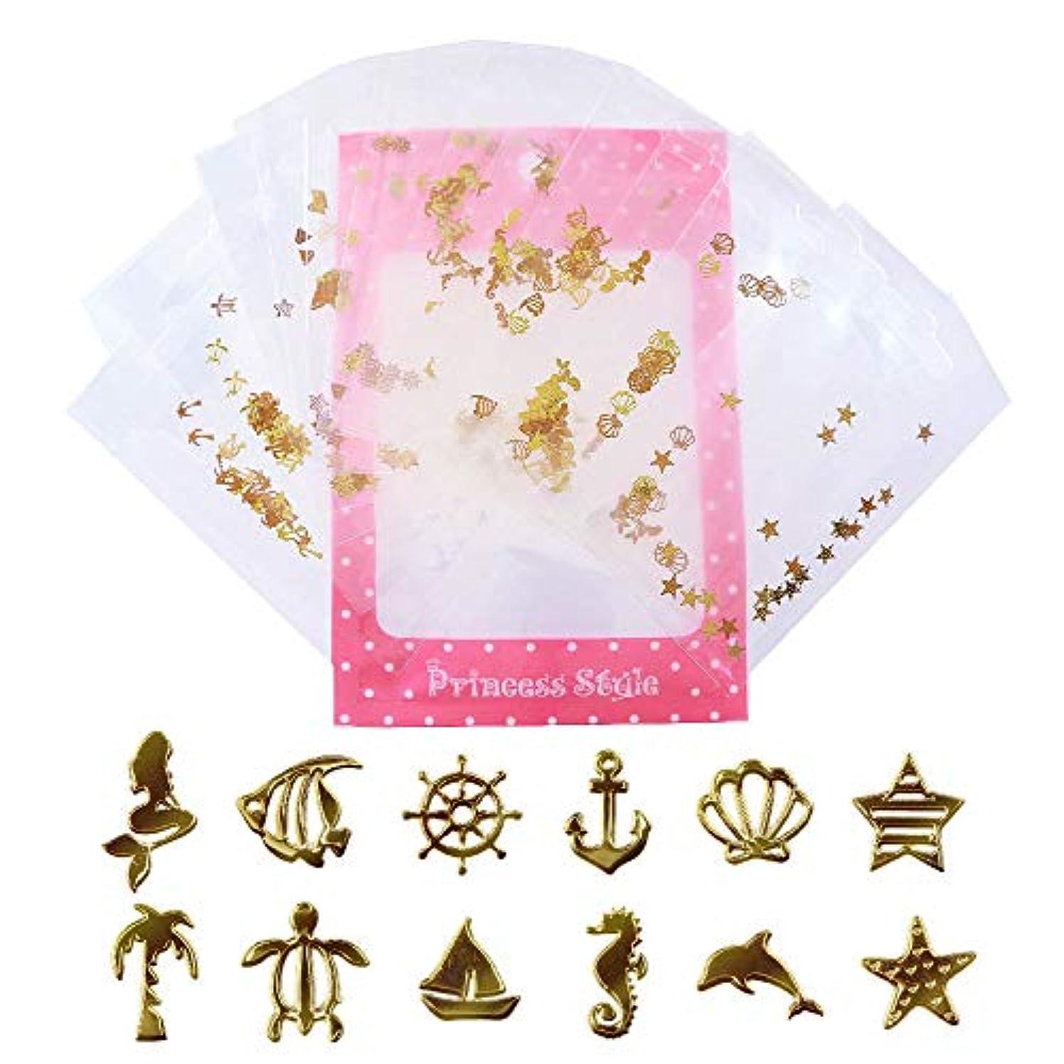 忍耐ミスアクロバット薄型 アート パーツ ゴールド ネイル&レジン用 マリンパーツ 12種類300枚セット 袋入り