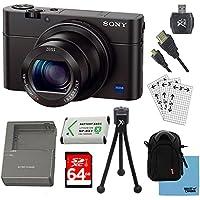 Sony dsc-rx100m III - Shot Digital Stillカメラバンドルwith 64GBカード、スペアバッテリ、急速なAC / DC充電器、SDカードリーダー、ケース、LCDスクリーンプロテクター、、テーブルトップ三脚