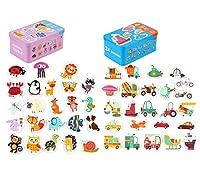 yasushoji 木のおもちゃ 知育玩具 パズル 形はめ 絵 合わせ 幼児 プレゼント お祝い おもちゃ つみき 教材 (知育セットD)
