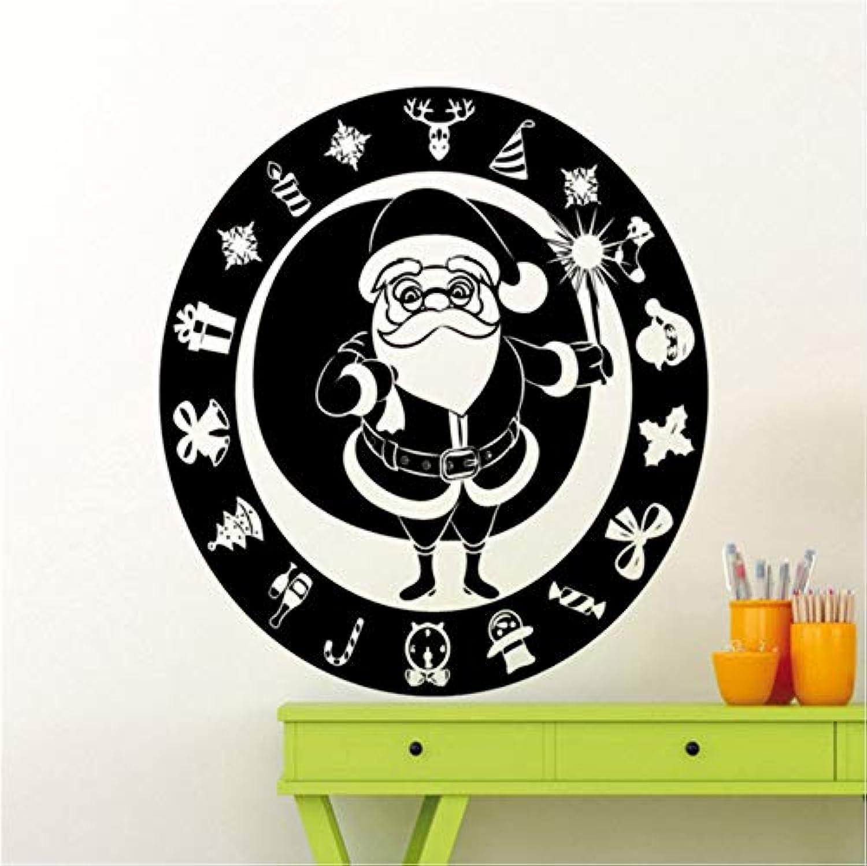 Mingld サンタクロース新年あけましておめでとうございますウォールステッカー冬の休日の家子供部屋インテリア壁画かわいいビニールの壁紙56X56Cm