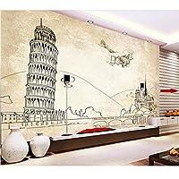 Lixiaoer カスタム3D壁画壁紙ピサの斜塔ヨーロッパ建築壁画線画テレビ背景壁壁画壁紙-250X175Cm
