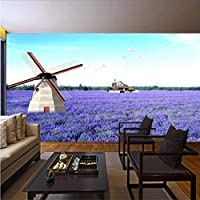 Wuyyii ラベンダー風車自然風景ヴィンテージ3Dルーム写真の壁紙用3Dリビングルーム壁紙プリントキッズウォール壁画ロール-120X100Cm