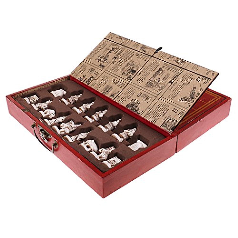 Baoblaze アンティーク 中国のチェス グッズ ヴィンテージ テラコッタの戦士 駒 木製 テーブル