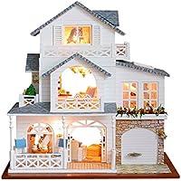 MagiDeal 手作り3DDIYハウスモデルキット ミニチュアLEDライト&オルゴール 木製ドールハウスモデル ヨーロピアンタウン