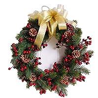 装飾クリスマスリース、フェイクパインコーンの花輪、フロントドアガーランド結婚式ファミリーパーティーの装飾